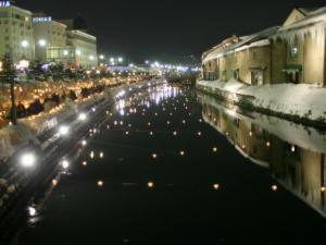 「雪あかりの路」~イベント中の小樽運河
