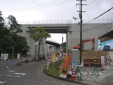 現在工事中の小郡萩道路、美東JCT付近の様子