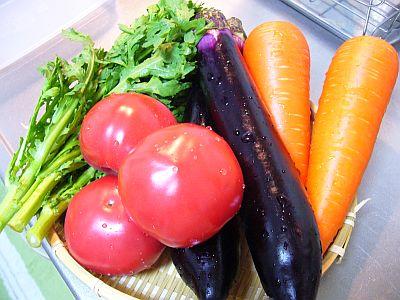 洗いたての野菜たち