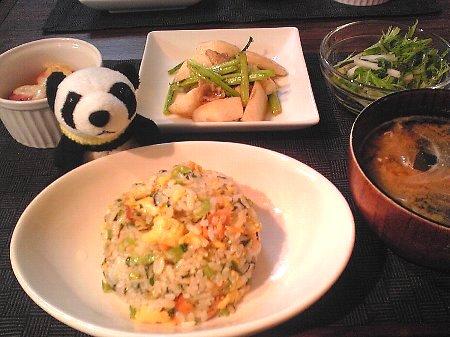 鮭と小松菜のチャーハン献立