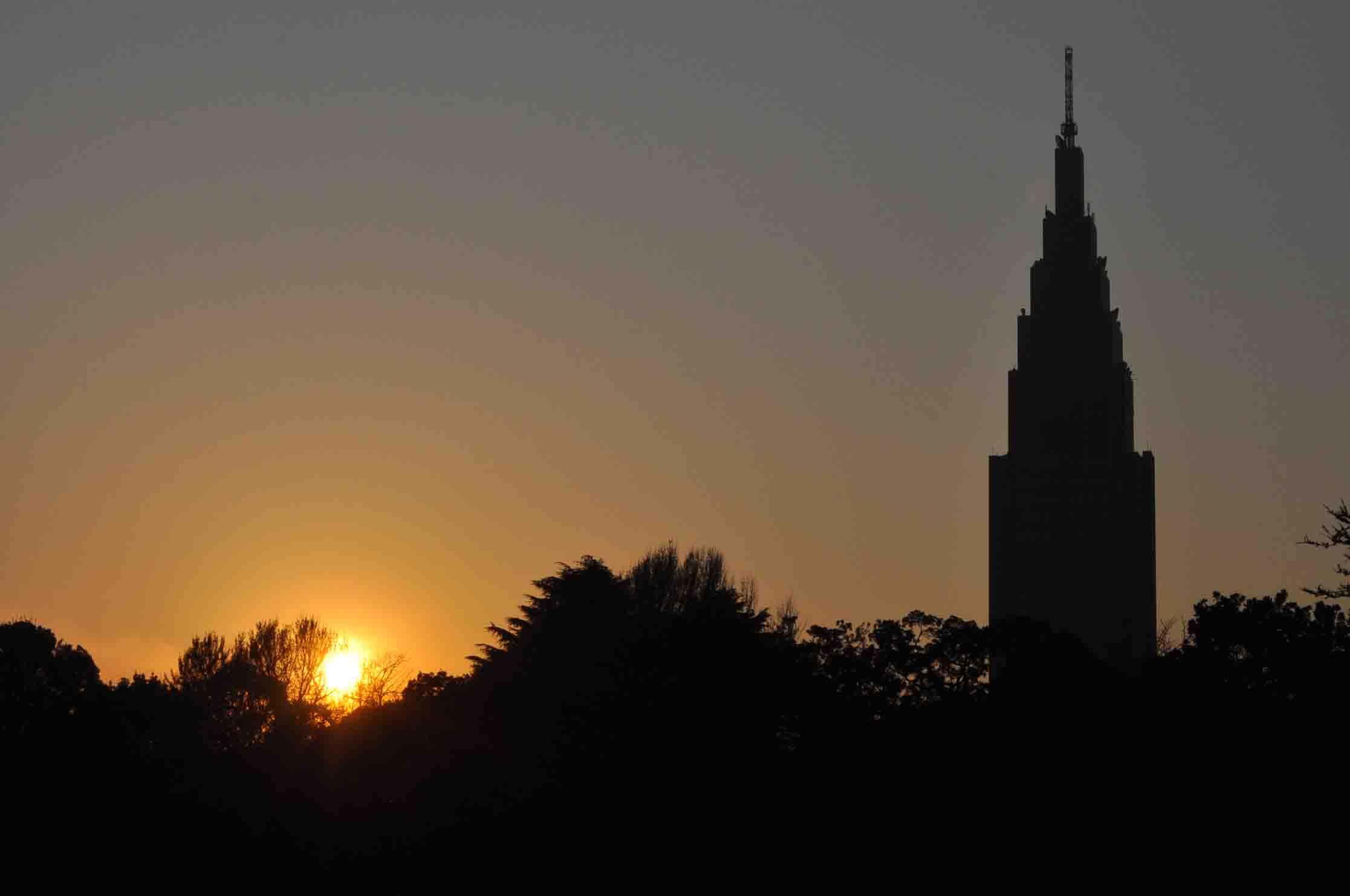 DSC_2793A「夕陽と塔のシルエット」