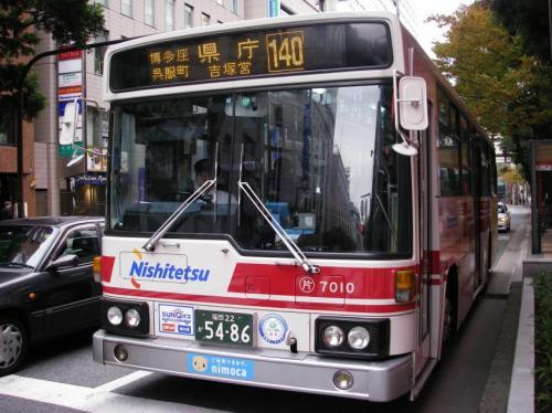 天神にて片江7010.車体更新されたばっかりなのでピカピカ!