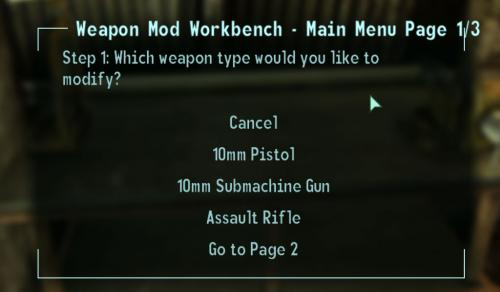 Weapon Mod Kits Bench menu