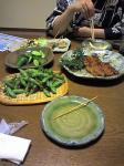 サラダ、アスパラ生ベーコン巻き焼き、鰻の蒲焼き、枝豆、漬け物