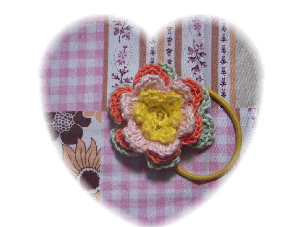 春色 ヘンプお花ヘアゴム