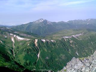 水晶岳から眺める雲の平とその向こうの黒部五郎岳