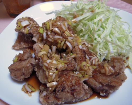 鶏唐揚げ+葱ソース