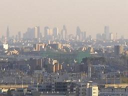 秋の朝。新宿の高層ビル群が見渡せる。