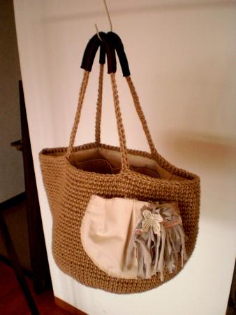 麻ひも編みかばん バッグ 内布付き 2011-06-08 2