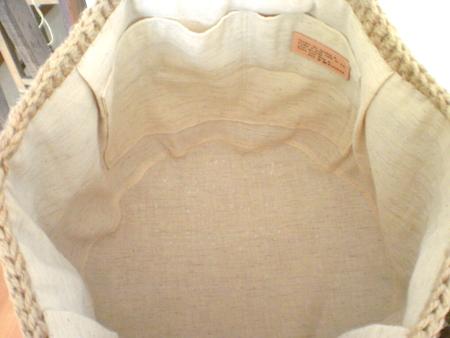 麻ひも編みかばん バッグ 内布のつけ方 2011-06-083