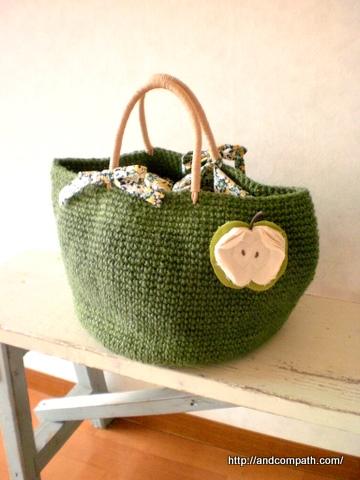 麻ひもバッグ。麻ひもかばん。持ち手