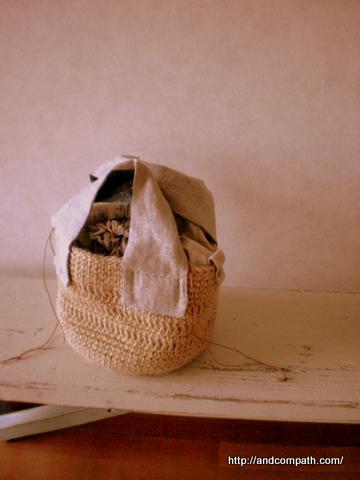 麻ひもバッグ 持ち手布ナチュラル布小物2