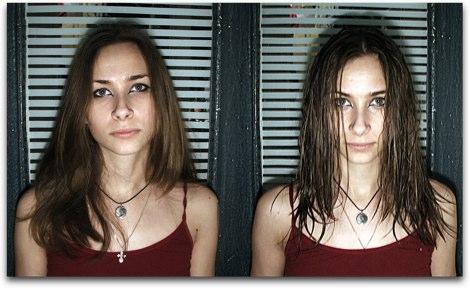 濡れる前と濡れた後のヘアースタイルアーカイブ