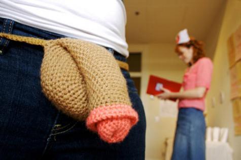 恥ずかしい部分をかわいらしく編みこんだアイテム