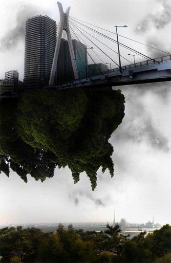 空中に浮かぶ日本家屋