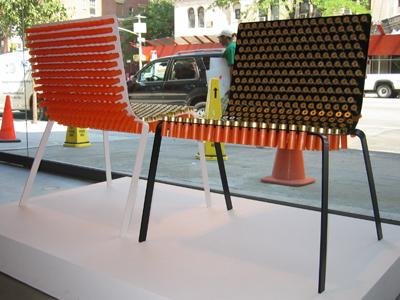 ショットガンのやっきょで作られた椅子