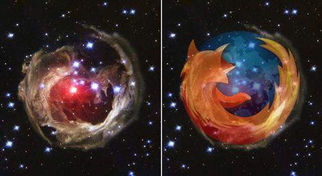 Firefoxのロゴに見える「特異変光星V838」