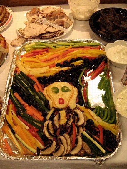 ムンクの叫びを食べ物で作った写真