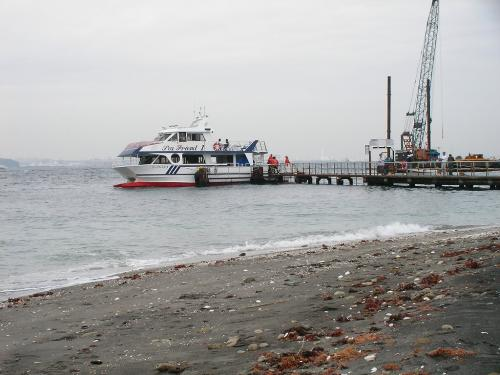 猿島 桟橋と船
