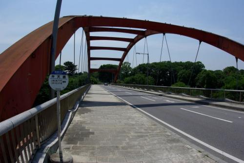 K弁天橋 サイクリングロード 赤い橋 迷った場所