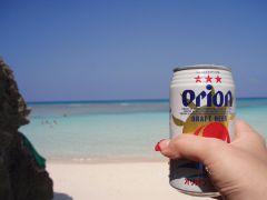 ニシ浜とオリオンビール