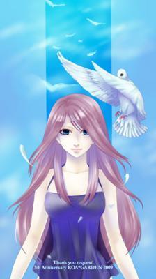 リクエスト絵:髪の長いまるで生きているかのような綺麗な女性+鳩