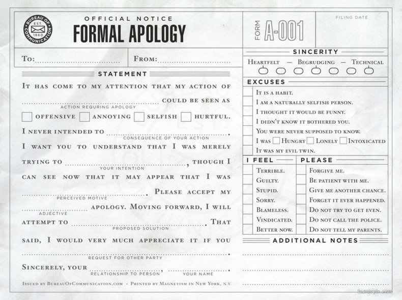 formal apology
