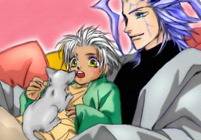猫と小さい仔とモア様