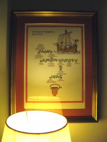 パラドールの廊下に飾られている家系図の額(トレド)