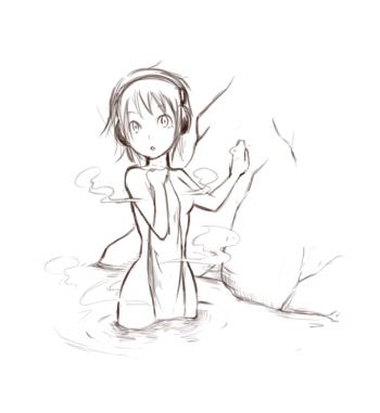 ヘッドフォンと露天風呂