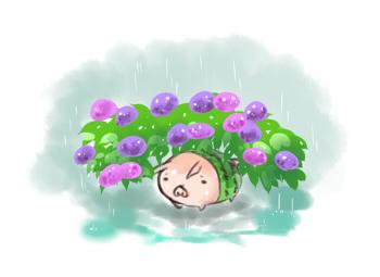 紫陽花の下でブログver