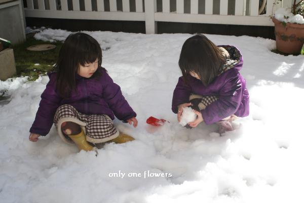 いっしょに雪遊び