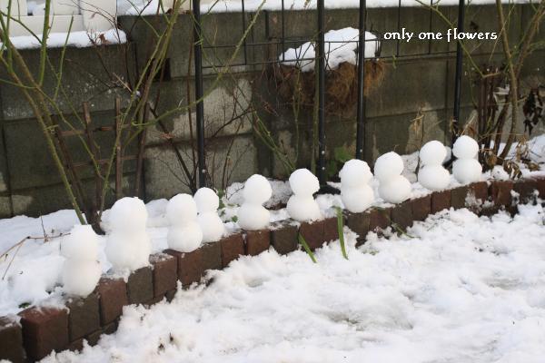 できあがった雪だるま×10
