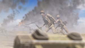 逃げ惑う地球連邦軍兵士