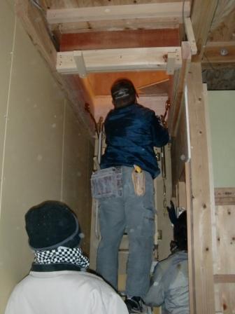 小屋裏 階段取付②