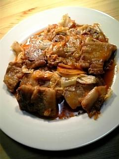 厚切り豚バラ肉で豚キムチ01