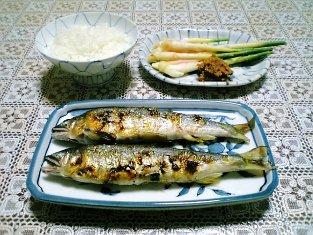 鮎の塩焼きと煮物001
