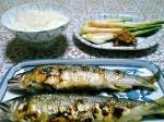 鮎の塩焼きと煮物003