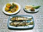 鮎の塩焼きと煮物004