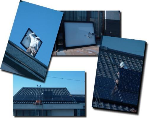 太陽光発電パネル設置中