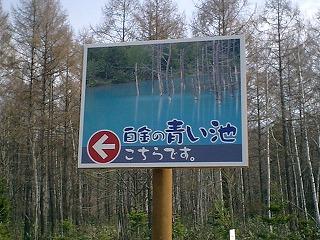 青い池ご案内看板