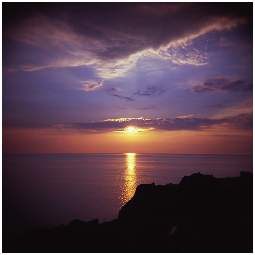 鶴岡の夕日
