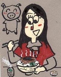 ソースかつ丼を食べる女