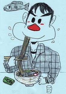 ニシンそばを食べる男