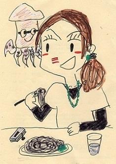 イカスミスパゲティ-を食べる女
