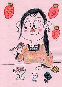 イチゴミルクを食べる女