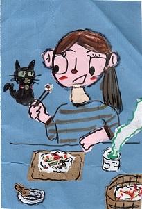 ばら寿司を食べる女