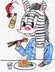 エビマヨネーズを食べるシマウマ