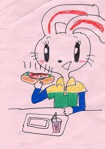 ホットドックを食べるウサギ