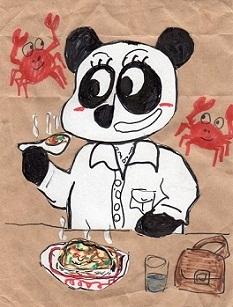 カニ玉丼を食べるパンダ